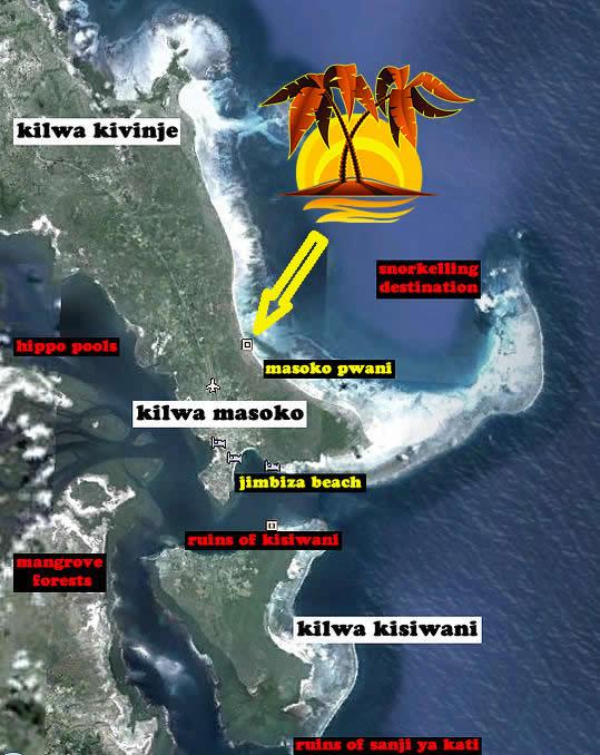 Kilwa Map Kilwa Beach Lodge Kilwa Ruins Tanzania